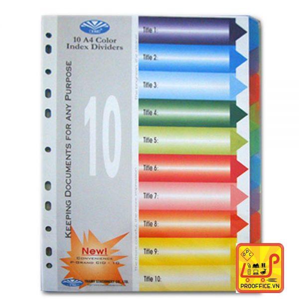 Bìa phân trang nhựa 10 màu
